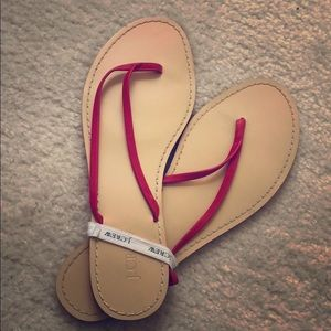 NWT J. Crew Red Faux Leather Flip Flop Sandals